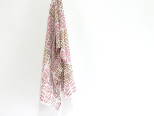 Woodcut / Soft cotton shawl No.3