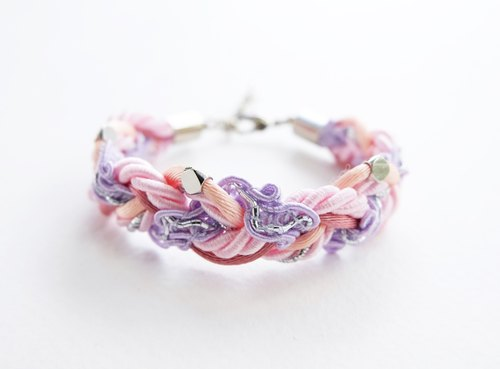 Pink purple braided bracelet