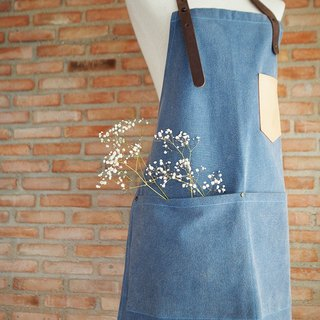Stonewashed Canvas Apron with Leather Pocket