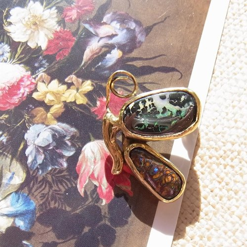 [One of a kind] Opal butterfly brooch (boulder opal, brass)