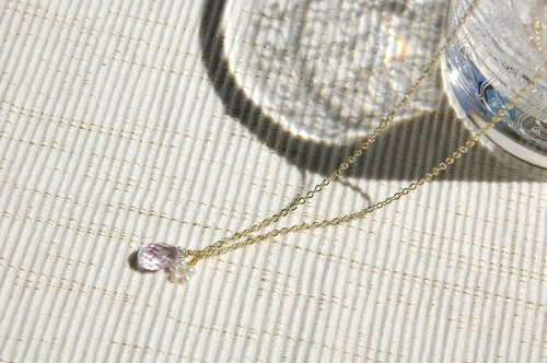 Drop and Flower Pearl Necklace (pink amethyst)