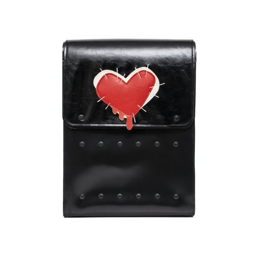 SEWED HEART BIG COW LEATHER BACKPACK