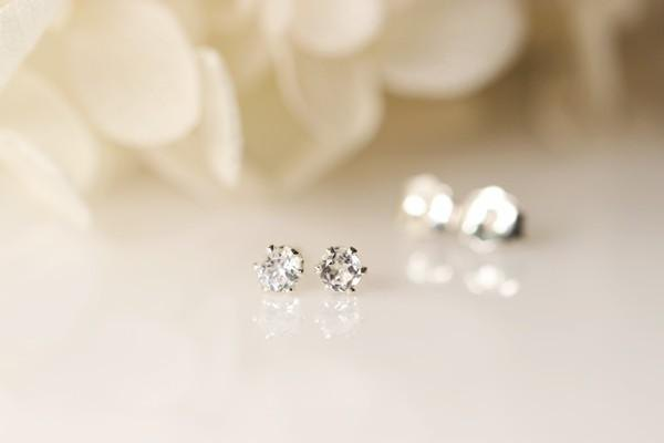 Baby white topaz stud pierced 3 mm November birthstone