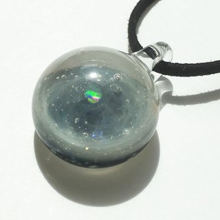 The world of the nebula # 2 Space glass pendant with white opal