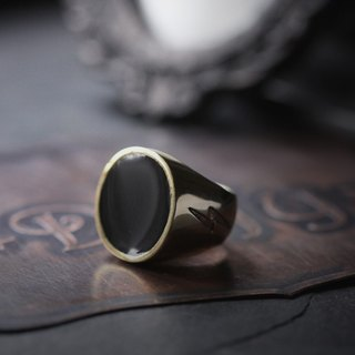 Simple Round Black Ring with Lightning Etching - Original design and made by Defy - Handmade Brass Jewelry.