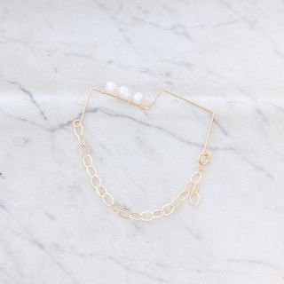 天然珍珠新几何14K包金手链 2 / natural water pearl with 14KGF chain & wire 2