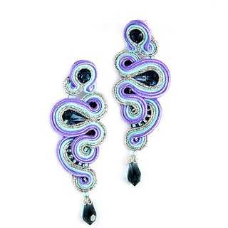 Long asymmetrical earrings in purple color with crystals
