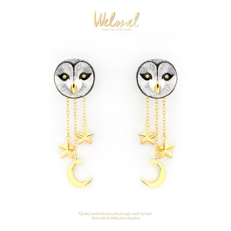 Snowy Barn Owl Earrings