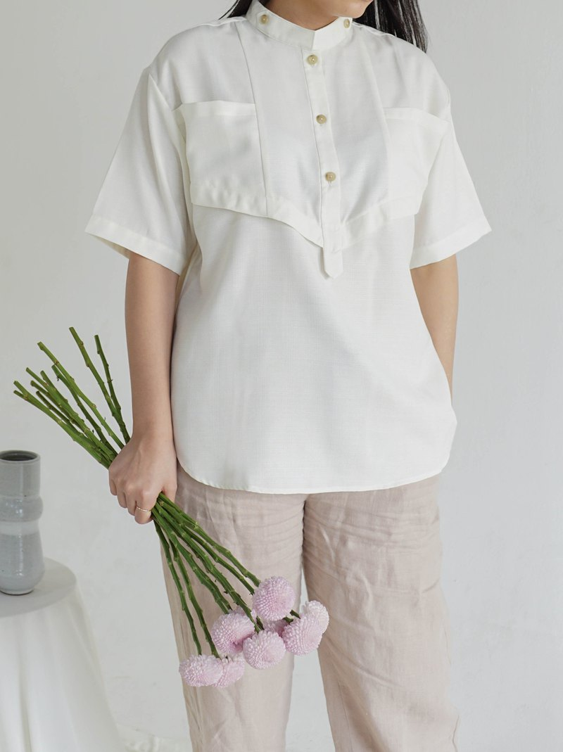 Oversized Top with Mao Collar