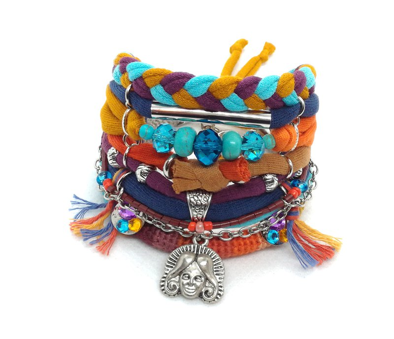 Colorful Head Charm Tribal Bracelet Orange Turquoise Exotic Gypsy Jewelry