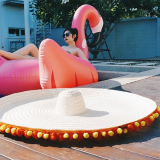 'BIN-DAI' Bamboo Beach Mega Hat in Orange/Yellow