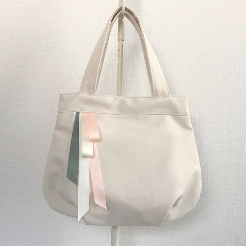 Triple sherbet color ribbon round type tote bag production × pink