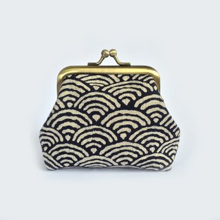 口金包 Indigo Wave Kisslock Coin Purse, Seigaihai, Japanese, Unisex