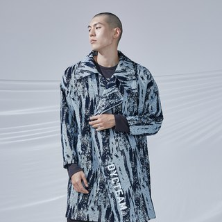 DYCTEAM - Brush Pattern Jacquard Trend Coat 笔刷大翻领大衣