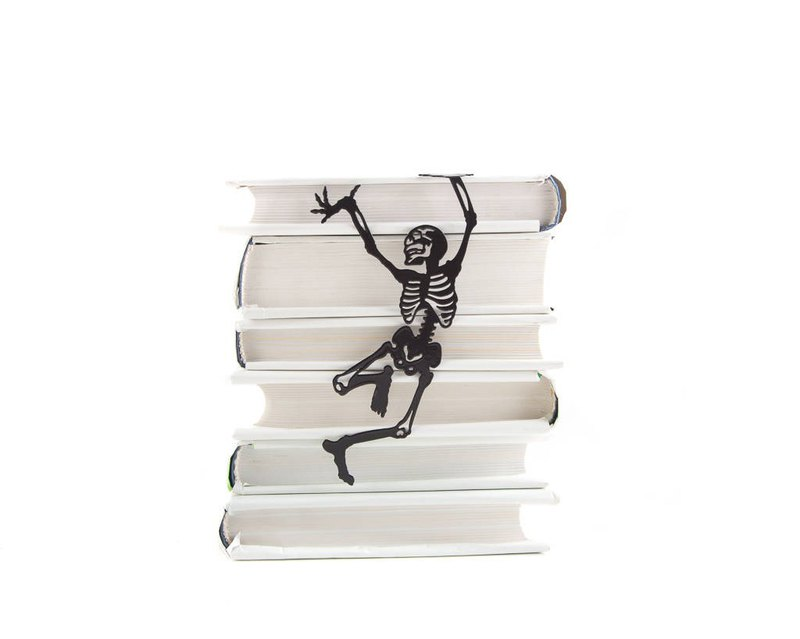 Metal book bookmark // Happy reading skeleton // Free shipping worldwide //