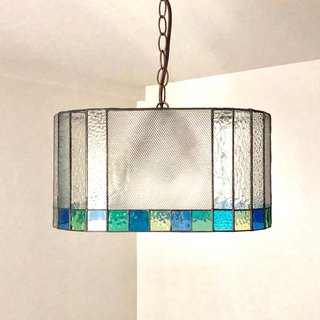 Stained glass 2 light pendant lamp manège