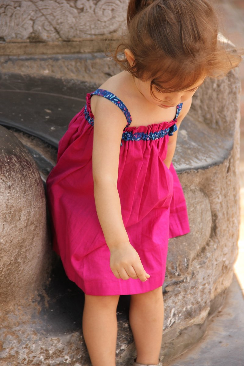 Baby girl pink and floral smock dress