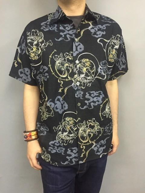 Short-sleeved shirt Japanese Pattern (Fujin Raijin Figure) XL