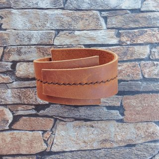 Stitched-Leather Cuff Bracelet. Tan Oil Leather Bracelet.