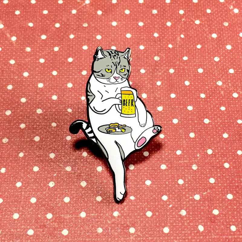 Cat drinking beer pin, Cat enamel pin, Cat lapel pin, Hard enamel pin