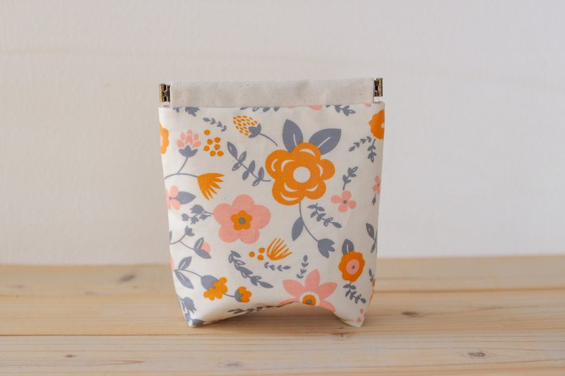 Laminate pouch, Charger case, Cosmetic pouch, Ditty bag / Orange flower