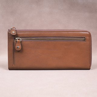 Italian Vegetable Genuine Leather Lady Long Wallet Zipper Wallet Purse Brown