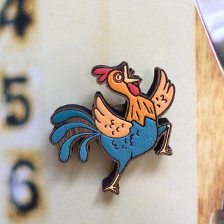 Wooden Brooch Chicken