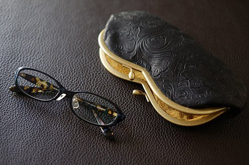 Glasses Glasses Pouch Carving Embossed Black Mustard