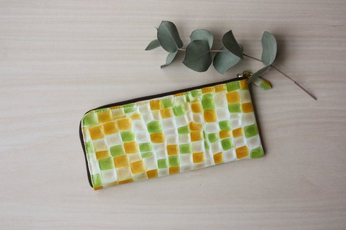 Slim long wallet with stained glass pattern L-shaped yellow