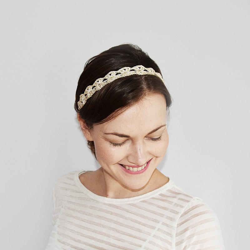 Gold Bridal Headband, Crochet Boho Wedding Headband, Girls Head Band, Wedding Headband for Brides, Bridesmaids, Flower Girls, Golden Headband Adult Size
