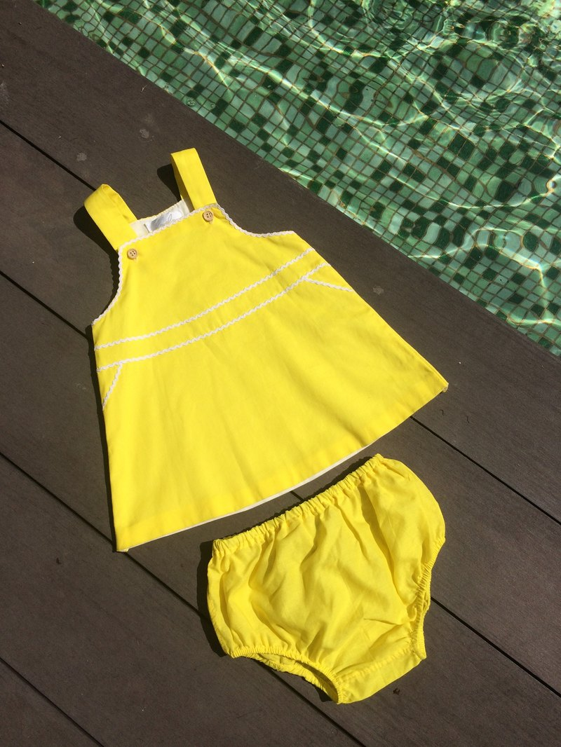 A line bright yellow cotton dress