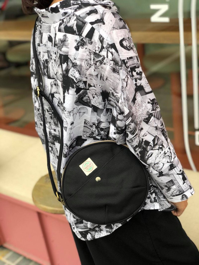New Black Canvas Moon Bag with strap / Circle Bag /Daily use