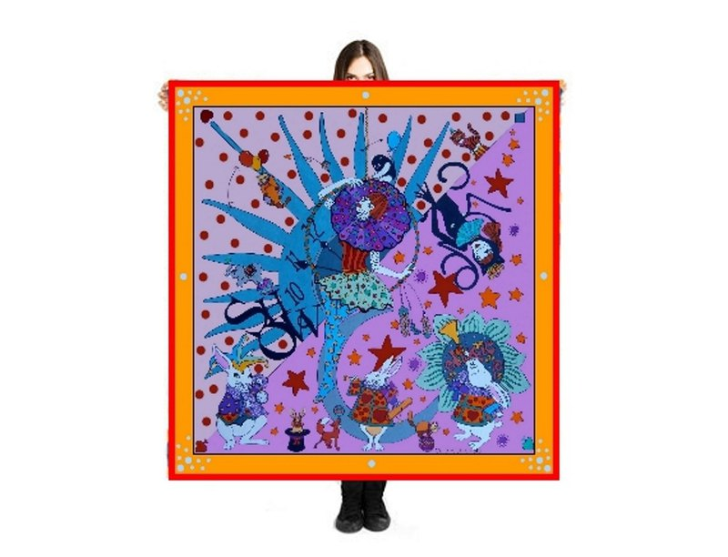 "Large Scarf ""The Show"" 140x140cm"