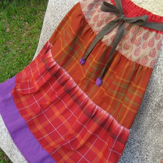 Tiered Skirt Ethnic Red Indian and Indonesian Fabric