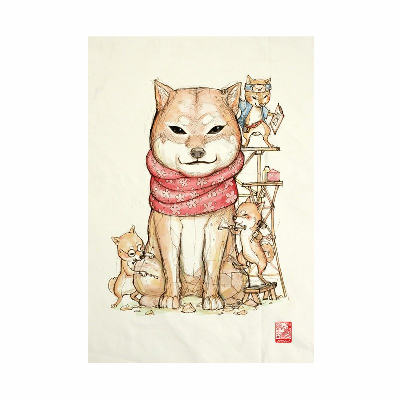 Hachiko Fabric Art Canvas No frame